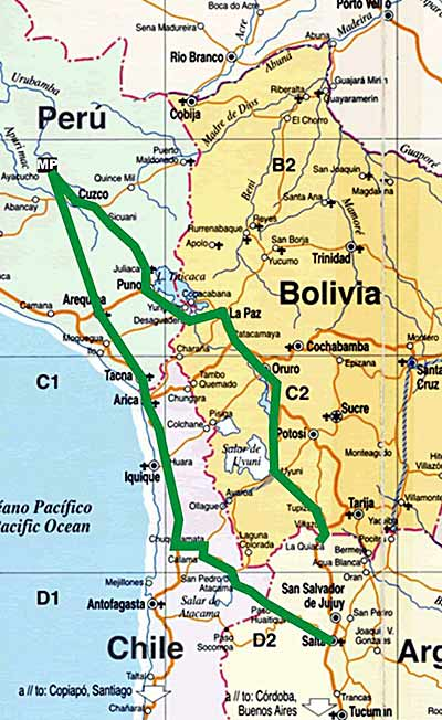 Mapa de Argentina Cordoba Potosí Oruro La Paz Puno Cusco